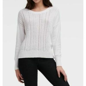 DKNY White Cable-Knit Pullover Sweater Side-Slits